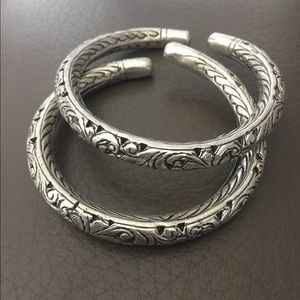 Jewelry - Spectacular Pair Of Sterling  Stamped Bracelets